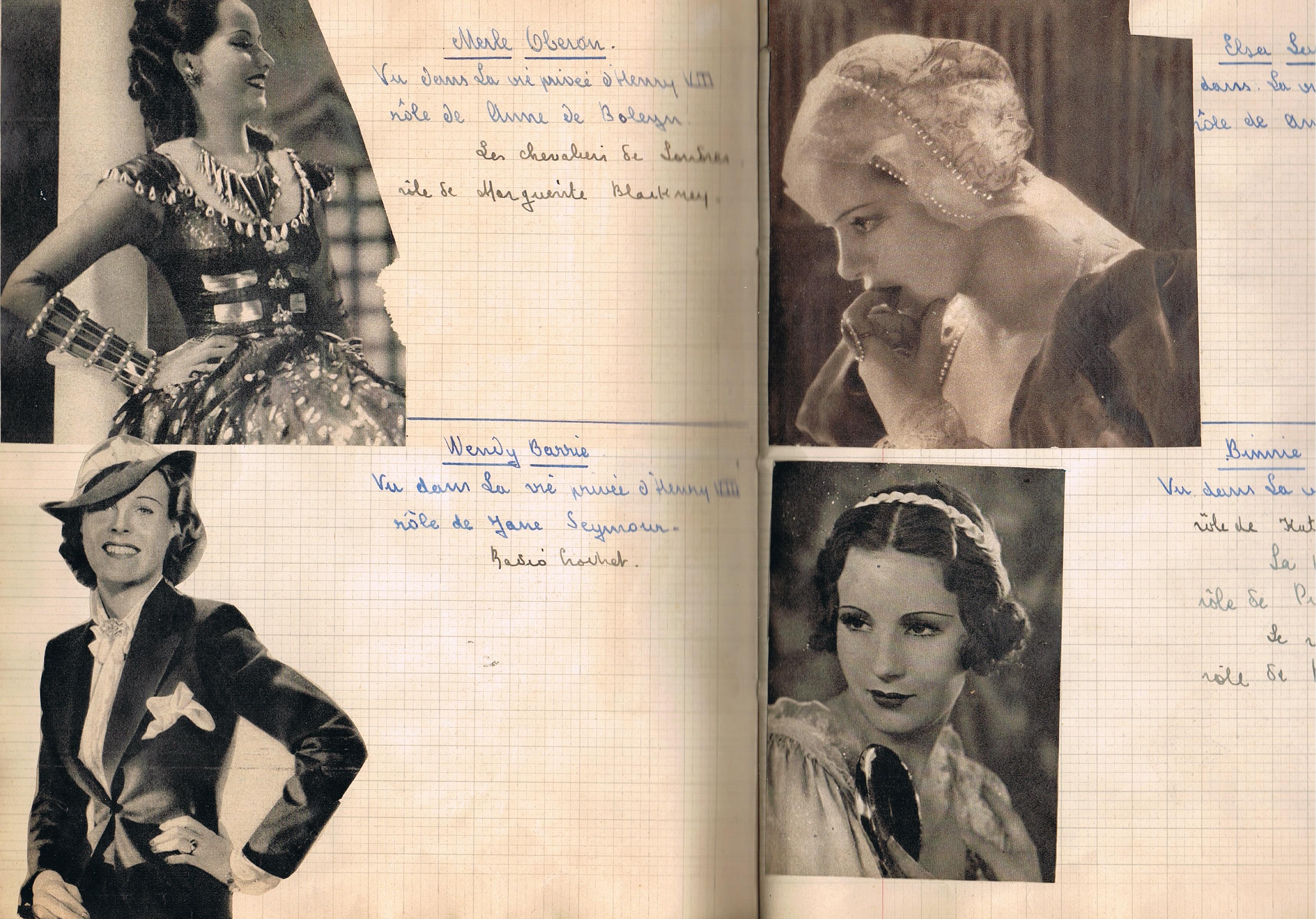 Cahier de Cinéma, Ariane de Gueyer n°2 Femmes Suite - Elsa Lanchester, Binnie Barnes, toutes les deux vues dans LA VIE PRIVEE D'HENRY VIII
